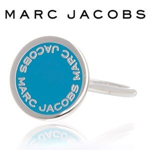💙NWT Marc Jacobs Round Blue Logo Signet Ring - 7